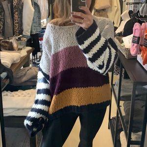 NWT Blank NY Chunky knot Striped Sweater